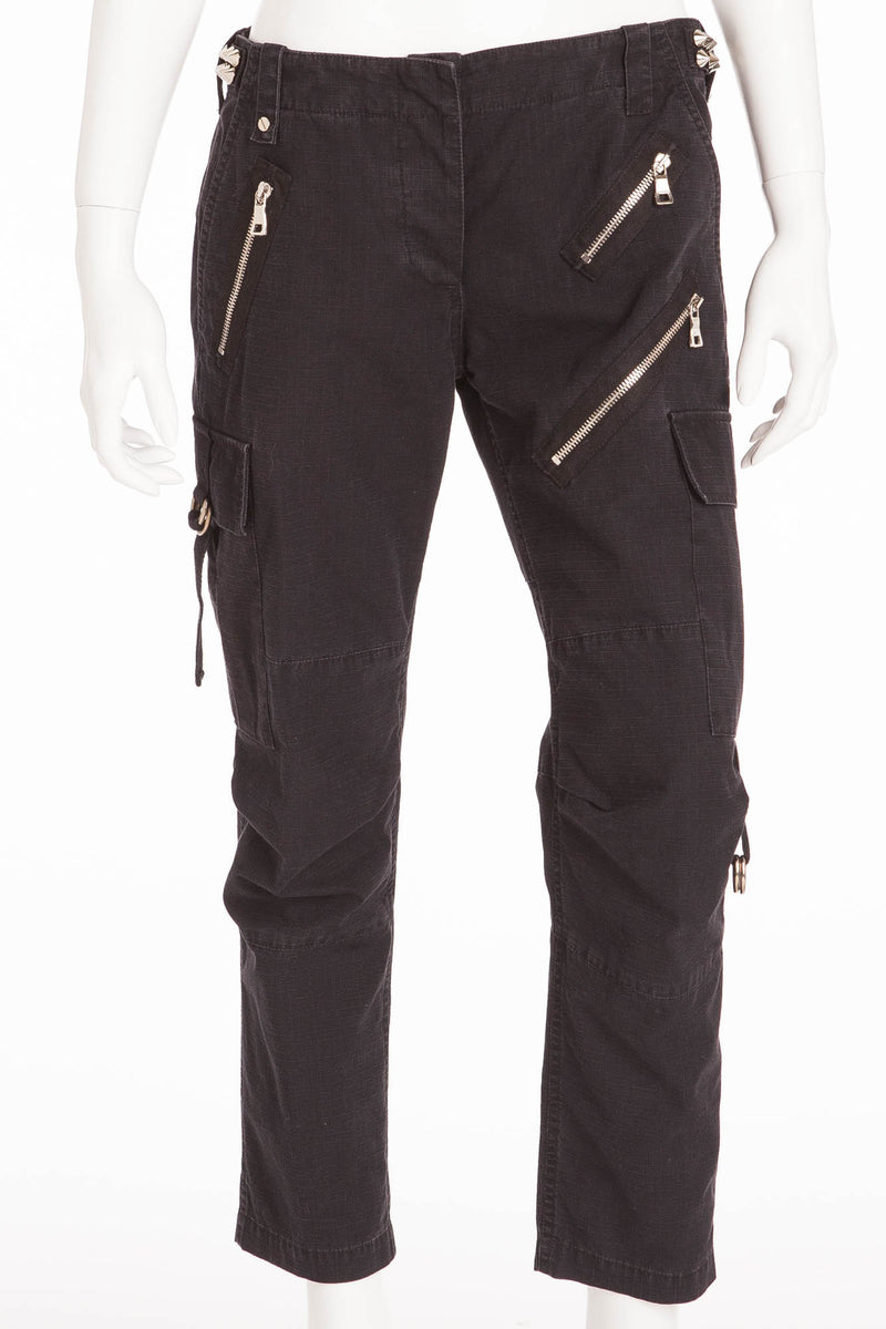 Balmain - Black Pants with Zippers & Spikes - FR 38