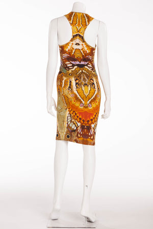 Original Alexander McQueen - Iconic Sleeveless Gold Print Dress - IT 40