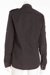 Balmain - Black Long Sleeve Button Down with Embellished Shoulders - FR 40