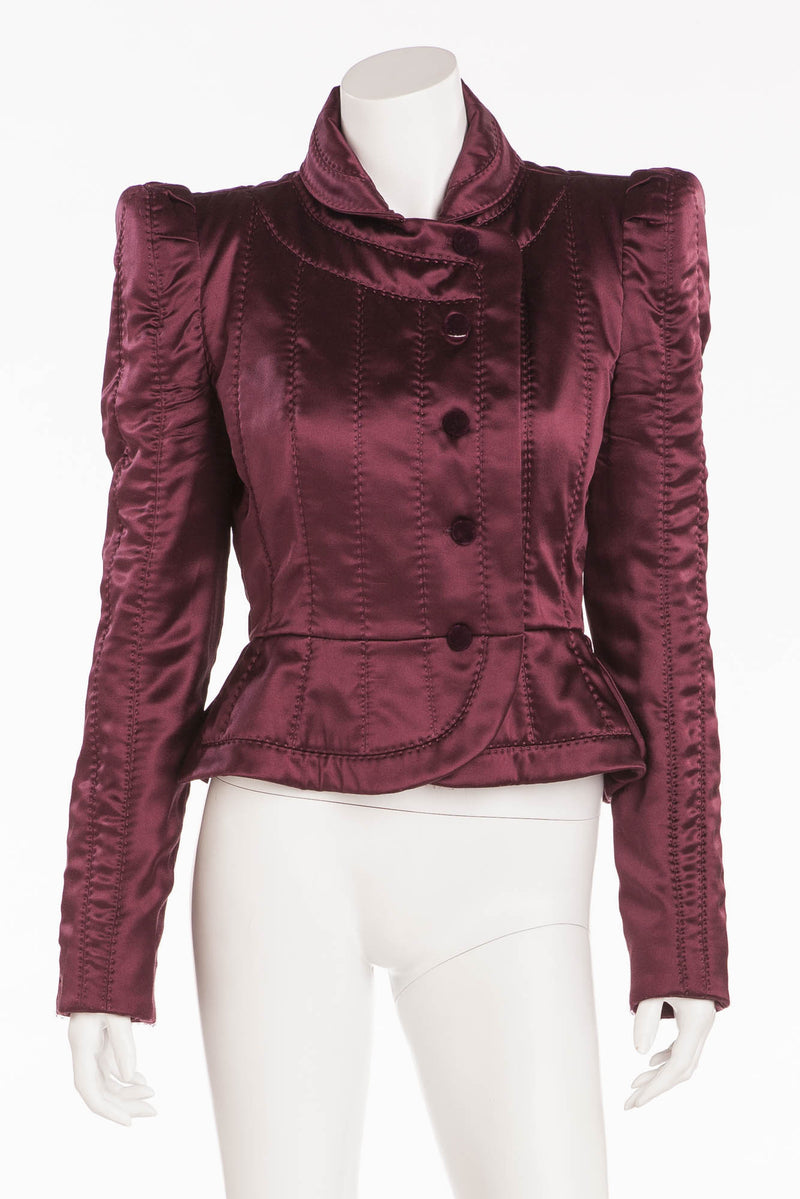 Tom Ford For Yves Saint Laurent - Burgundy Long Sleeve Silk Blazer with Black Buttons - FR 40