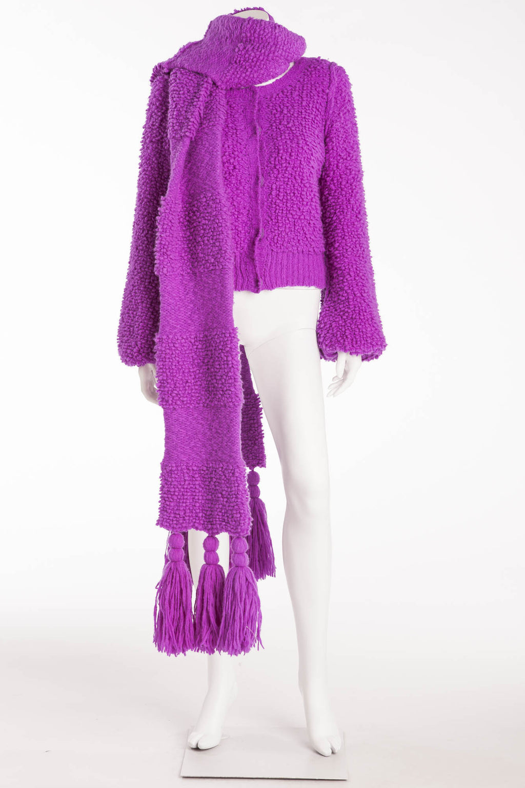 Sonia Rykiel - As seen on the 2008 Runway Collection - 2PC Purple Knit Sweater and Matching Scarf - S