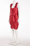 Sonia Rykiel - As Seen on the 2007 Sonia Rykiel Runway Collection - Red Silk Dress with Flowers and Ruching  - IT 38