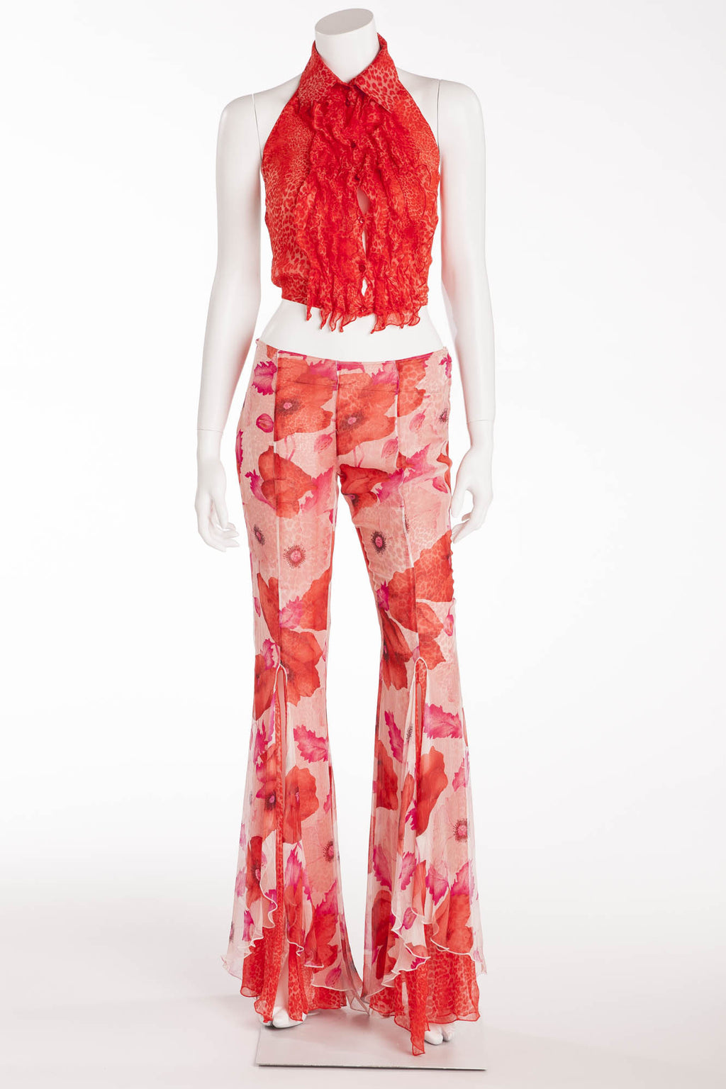 Blumarine - 2PC Red Leopard Halter & Flower Chiffon Pants   - IT 40
