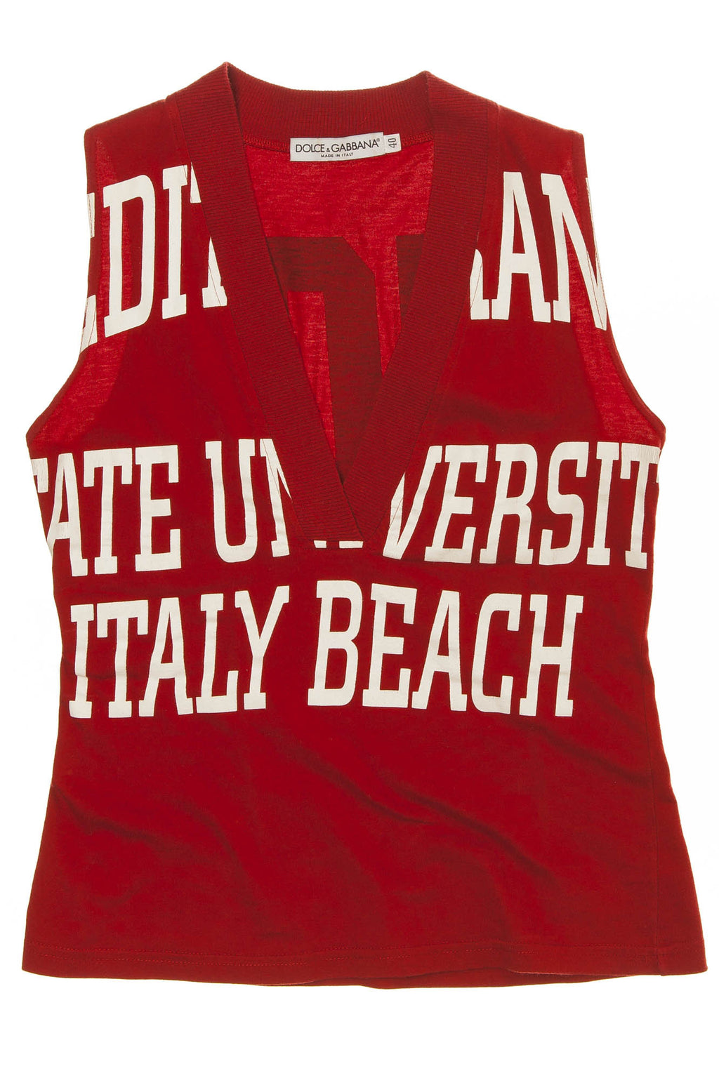 Dolce & Gabbana - Red Graphic V Neck Tank Top - IT 40