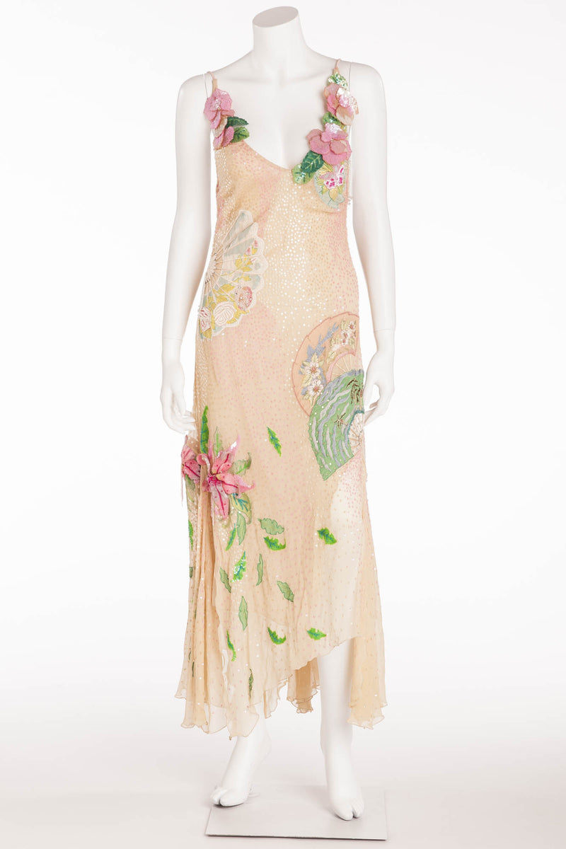 Blumarine - Editorial, Nude color Dress with Pink and Green Embellishments - IT 40