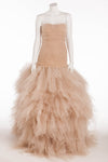 Oscar De La Renta - Editorial, New with Tags Taupe Strapless Fitted Bodice with Shredded Skirt - US10