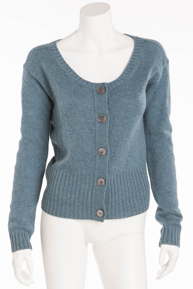 Prada - Brand New Long Sleeve Blue Button Up Cardigan - IT 40