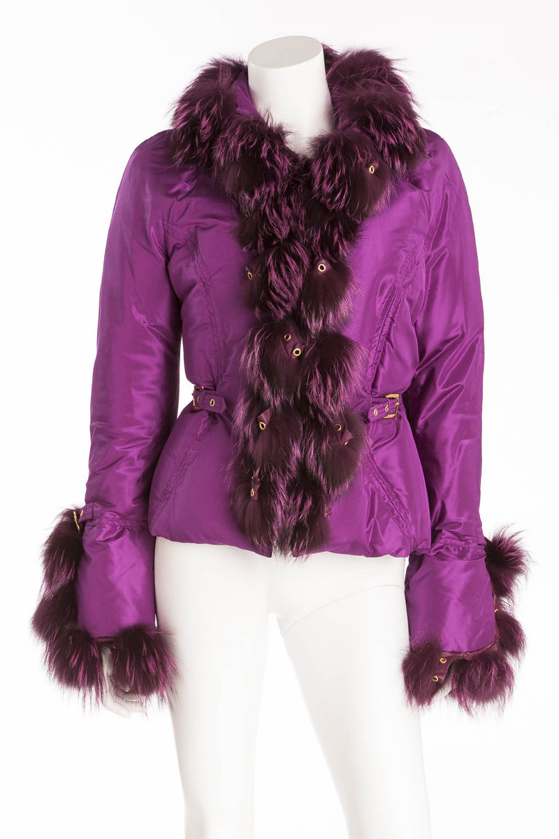 Roberto Cavalli - Purple Down Feather Puffy Jacket with Purple Fur Trim - IT 42