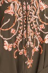 Emilio Pucci - Olive Green & Coral Embellishments Dress with Kimono Style Sleeves IT 42