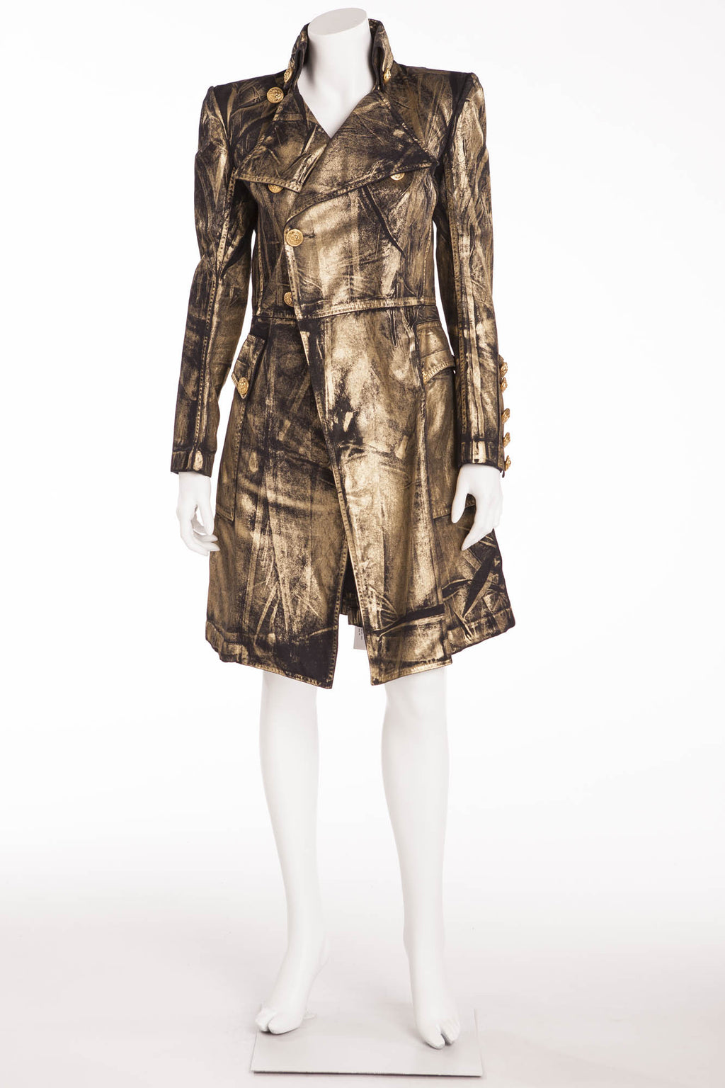 Balmain - NWT Gold Brushed Long Sleeve Black Trenchcoat  - FR 40