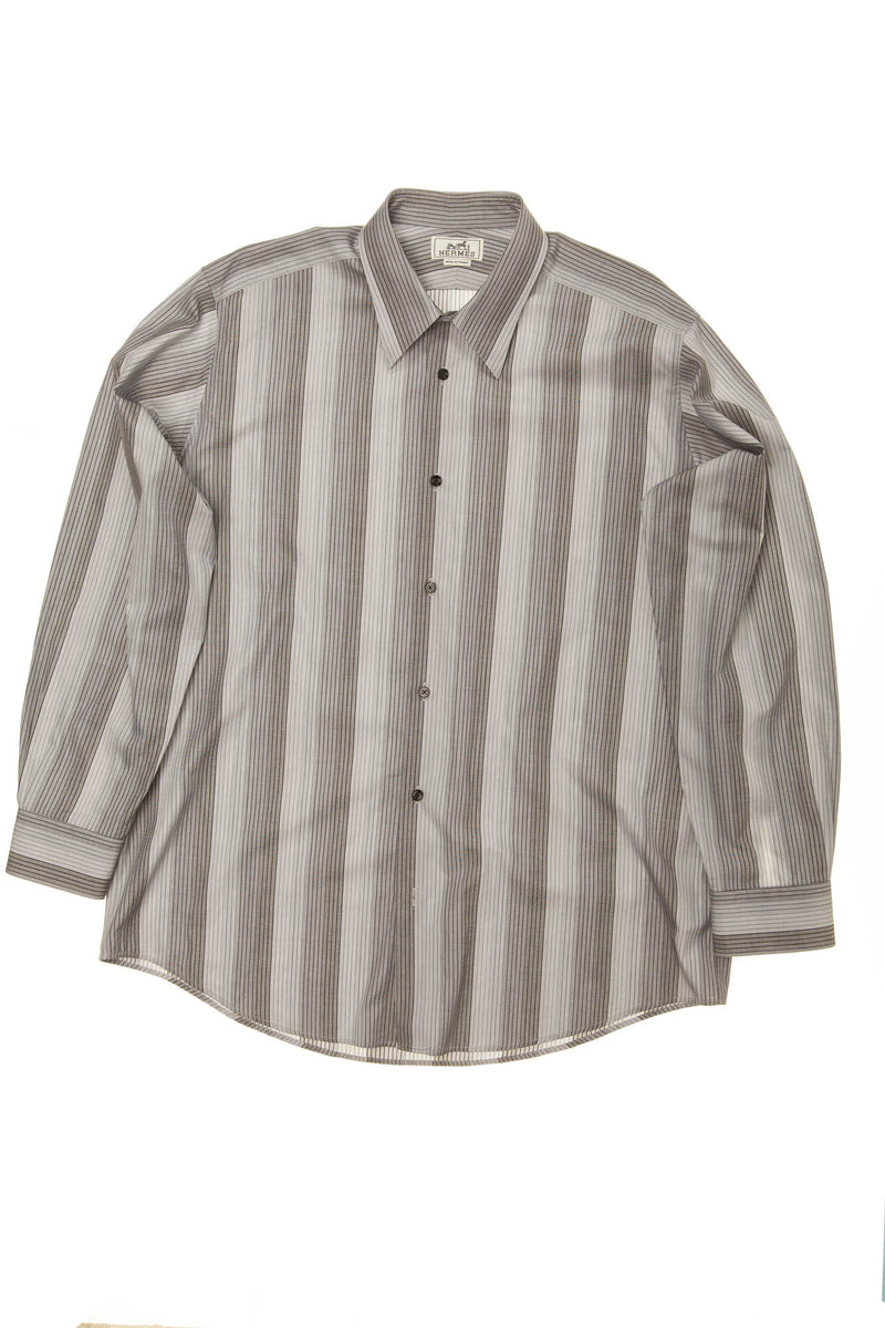 Hermes - Gray Long Sleeve Striped Button Down - IT 43