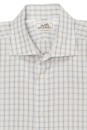 Hermes - Light Blue and Gray Checkered Button Down - IT 42