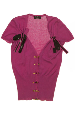 Agent Provocateur Knitwear - Fuchsia Short Sleeve Cardigan with Gold Safety Pin Buttons -