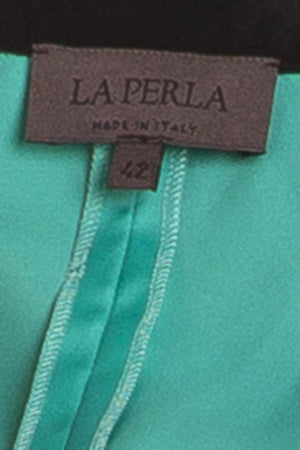 La Perla - 2PC Teal with Black Lace Bustier & Skirt - IT 46