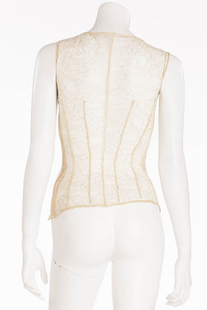 La Perla - Gold Lace Corset Tank with Embellishments -