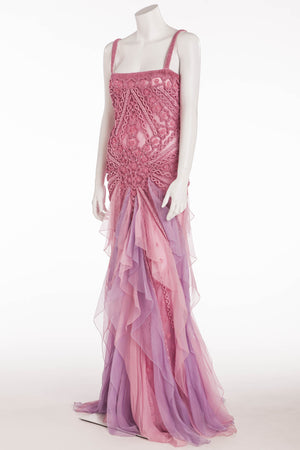 Valentino -  Original  Valentino Handmade Embellishments Pink and Light Purple Chiffon Gown - US 8