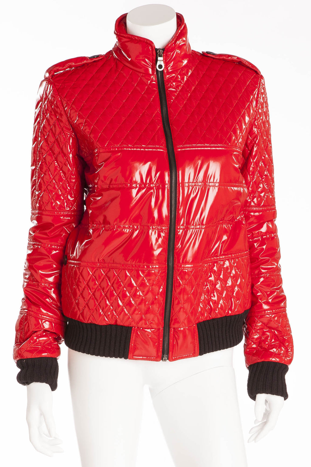 Chanel  - New with Tags Red Pleather Quilt Bomber Jacket - FR 40