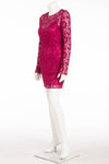 Dolce & Gabbana - Fuchsia Floral Lace Long Sleeve Mini Dress - IT 42