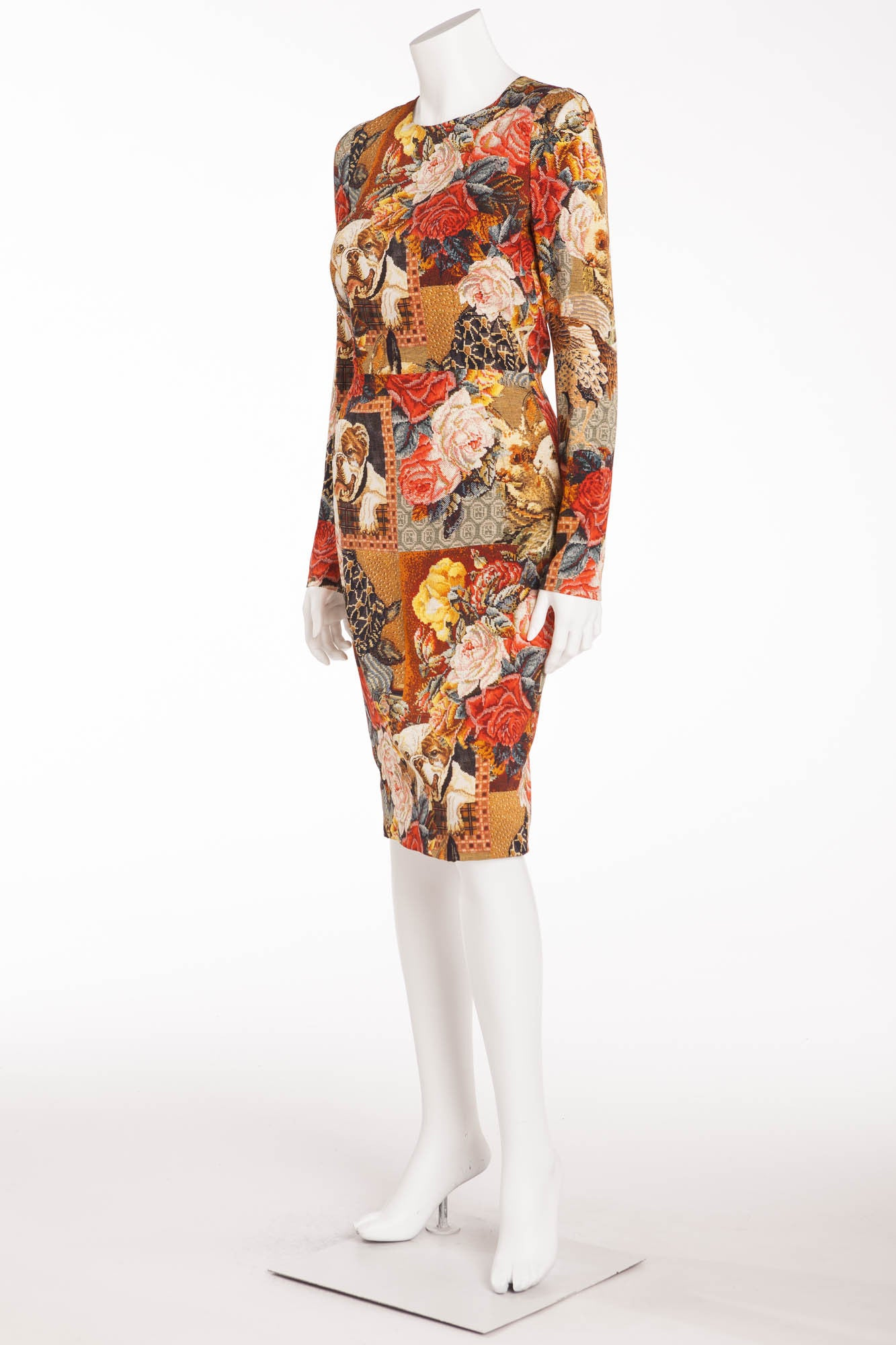 5233c26ad9 Dolce   Gabbana - Long Sleeve Tapestry and BullDog Print Dress - IT ...