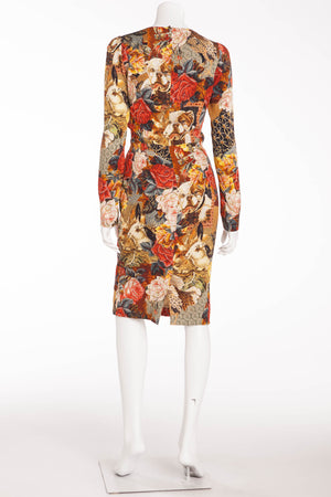 Dolce & Gabbana - Long Sleeve Tapestry and BullDog Print Dress - IT 42