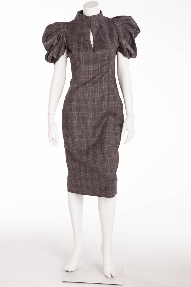 Original Alexander McQueen - NWT Prince of Wale Plaid Puffy Sleeve Dress - IT 42