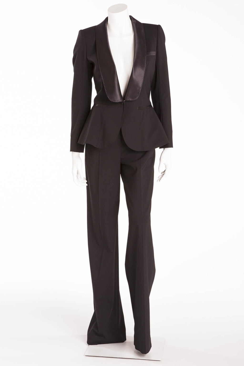 Louis Vuitton - New 2PC Black Blazer & Dress Pants with Satin Trim - FR 38