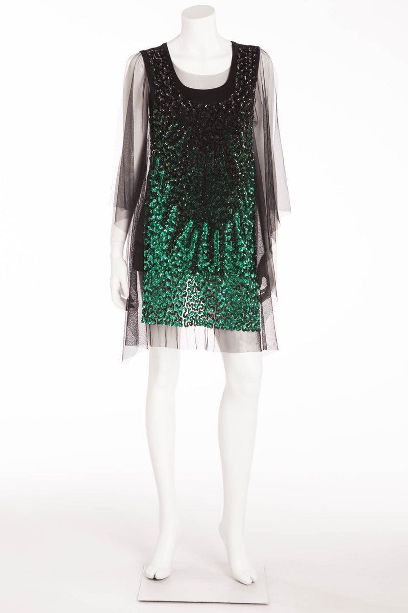 Givenchy - Mesh Black Top Low Hi Hem with Black and Green Sequins - M