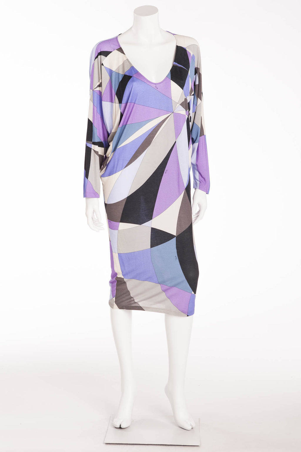 Emilio Pucci - Purple, Blue and Black Multicolor Long Sleeve Mini Dress - IT42