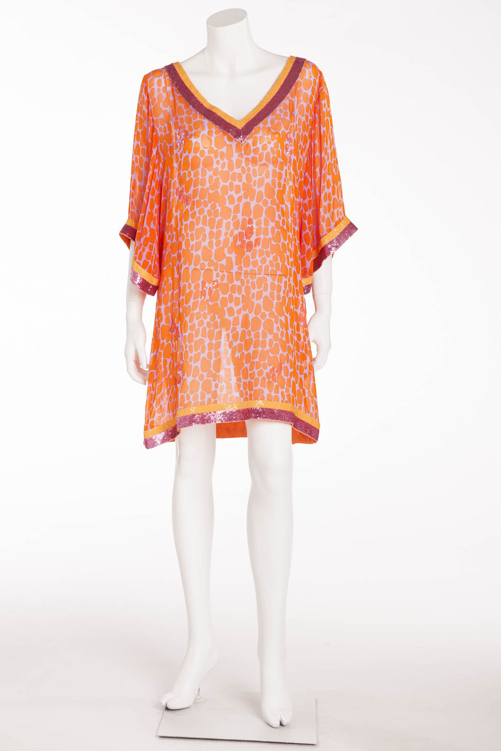 Blumarine - Orange Leopard Chiffon Short Sleeve Dress with Hot Pink Sequin Trim