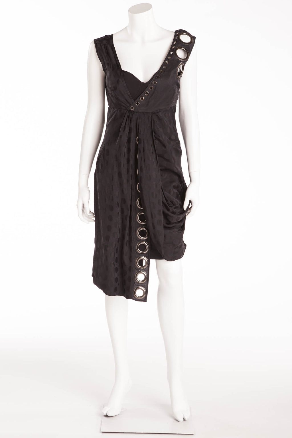 Givenchy - Black Sleeveless Draped Dress with Black Polka Dots and Metal Embellishments - FR 36