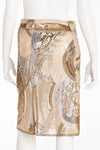 Valentino - IT 40 ,New Cream, Gold and Silver Sequin Pencil Skirt with Chiffon Belt -