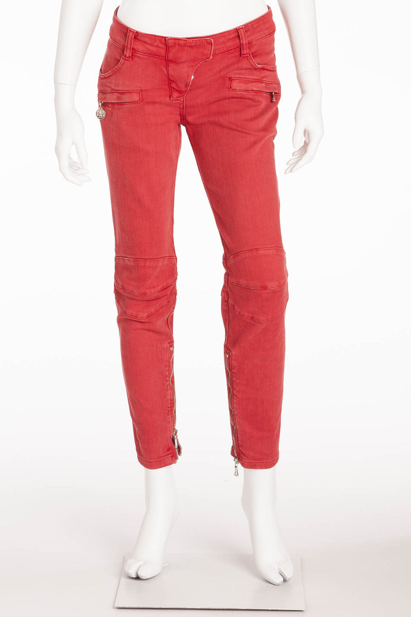 Balmain - Red Denim Moto-Style Jeans - FR 40
