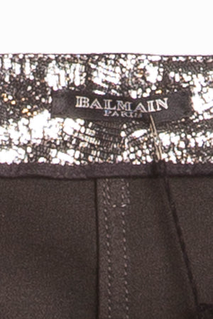 Balmain - NWT Unique Motorcycle Leather Reptile Texture Silver Skinny Jeans - FR 40