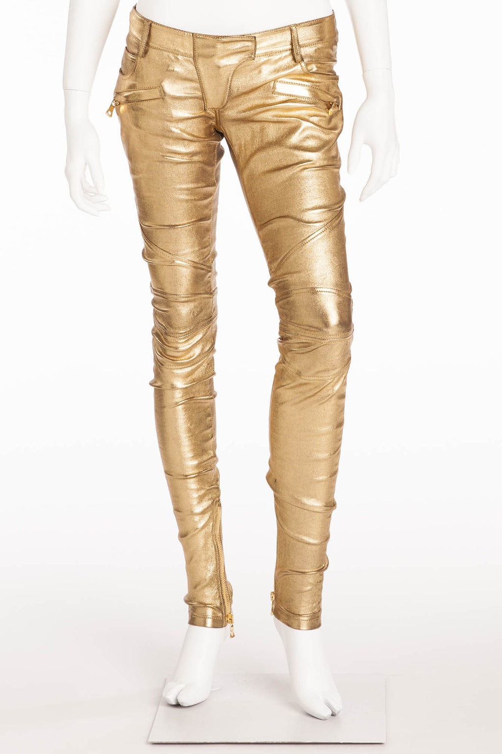 Balmain - New with Tags Gold Leather Skinny Jeans - FR 38