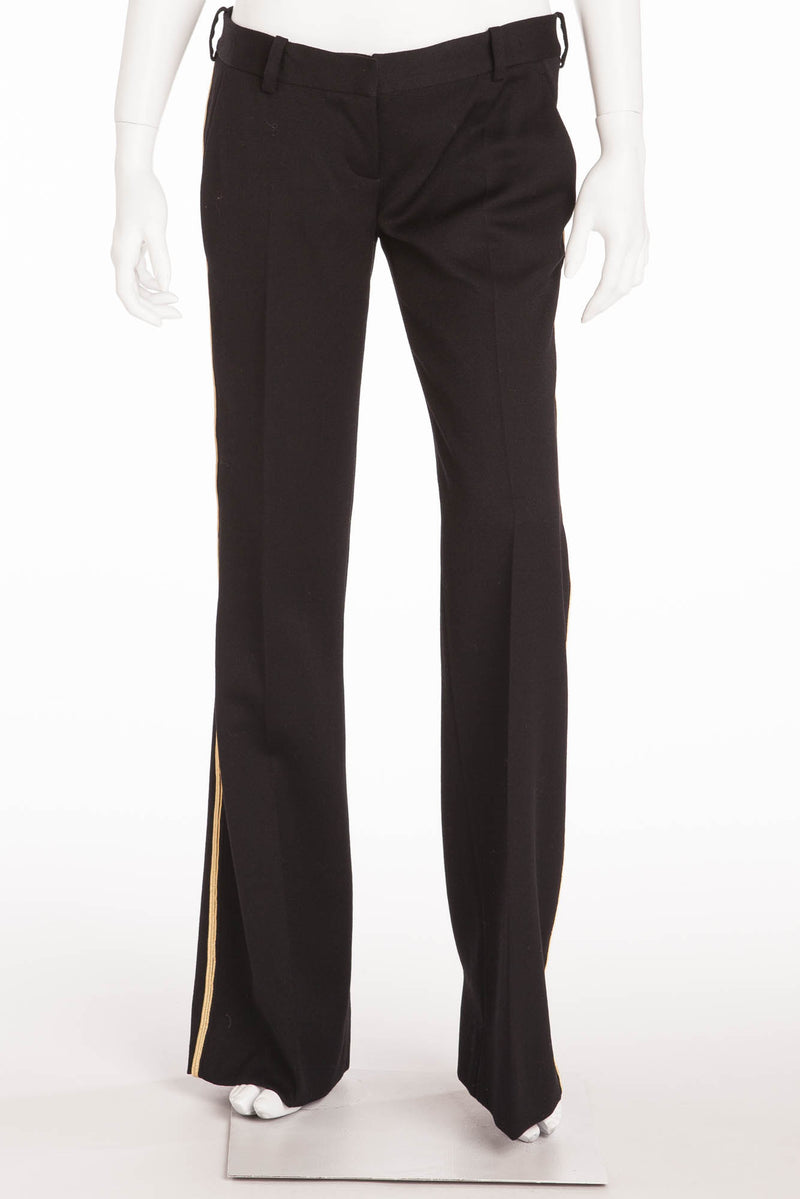 Balmain - Black Pants Gold Trim - FR 40