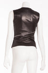 Plein Sud - Black Leather Tank Top with Silver Zippers