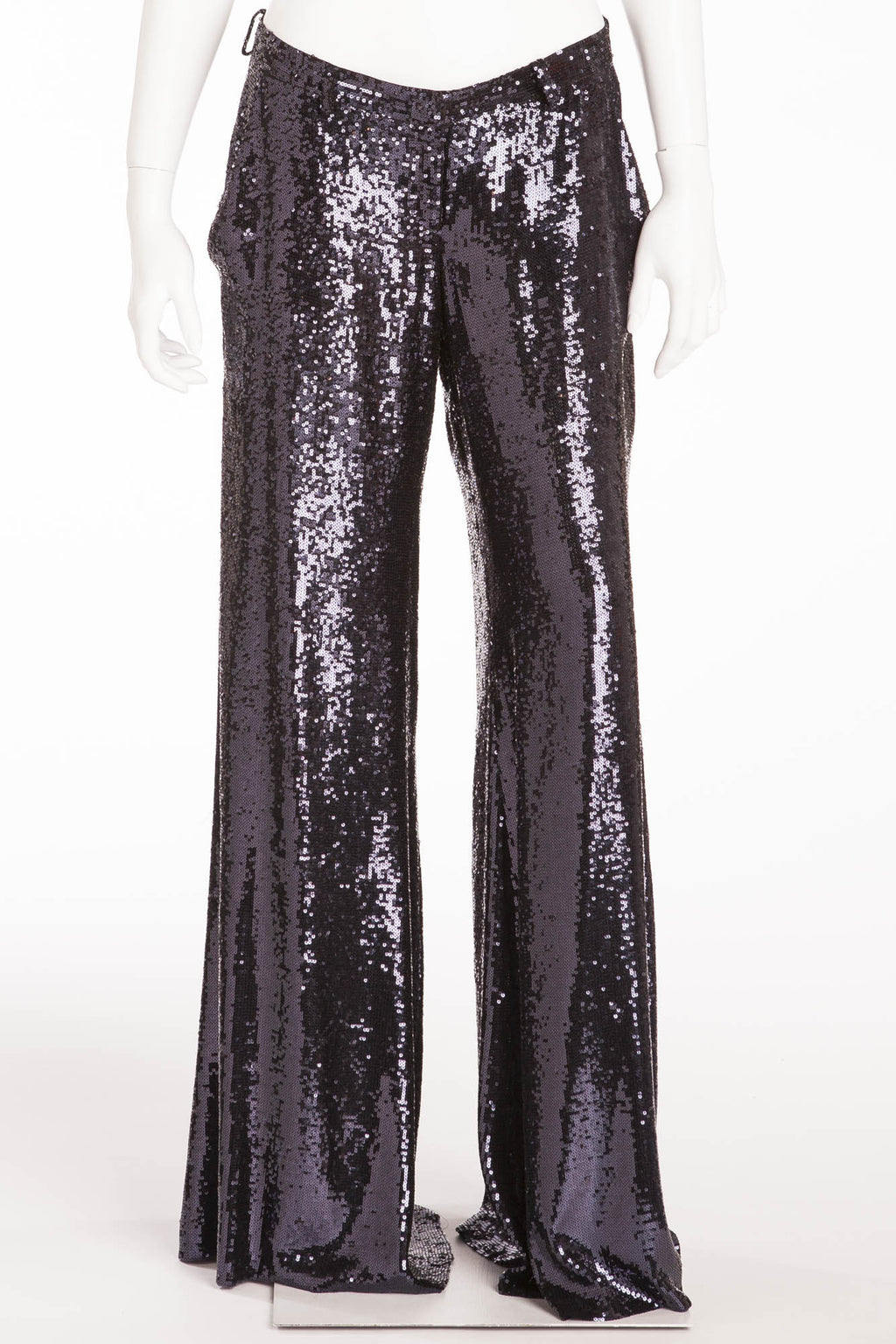 Balmain - New with Tags Blue Sequin Wide Leg Pants - FR 40