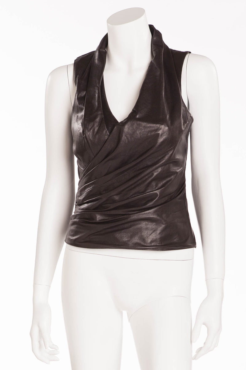 Jitrois - Black Leather Tank Top with Ruching - FR 38