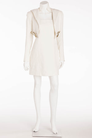 Balmain  - New with Tags Long Sleeve Off White Linen Dress with Leather Buckle - FR 40