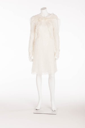 Rochas - Long Sleeve White Lace Dress Button Neck - FR 38