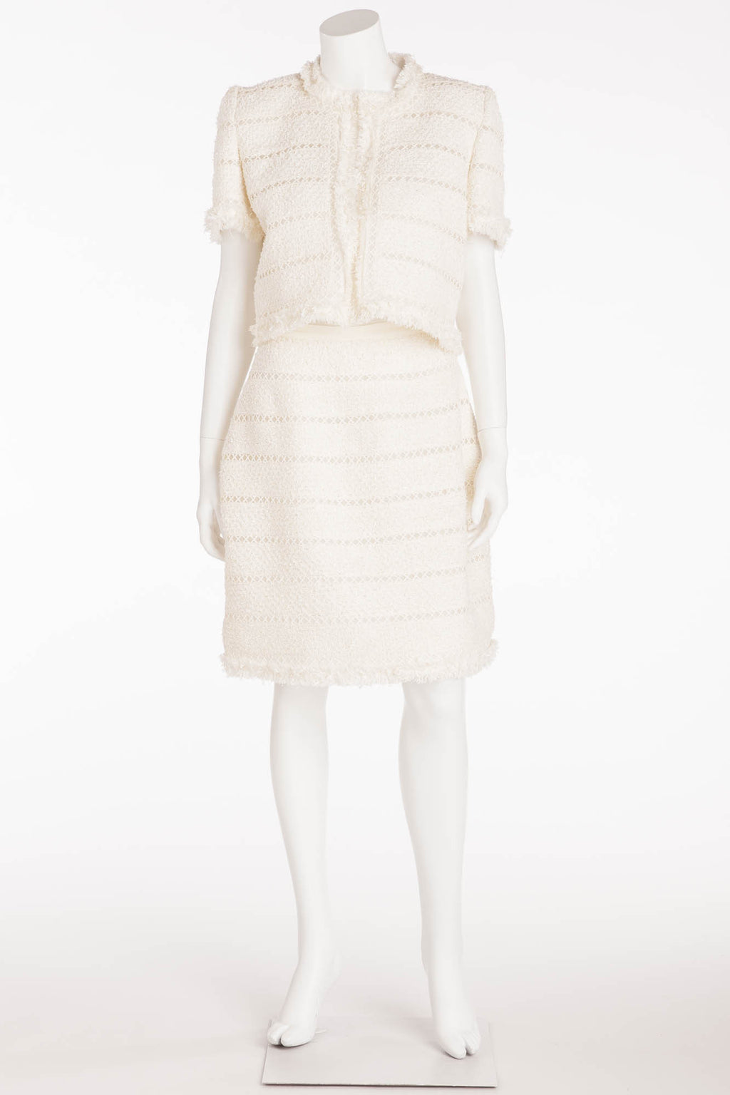 Oscar De La Renta - 2PC White Short Sleeve Top and Skirt - 8