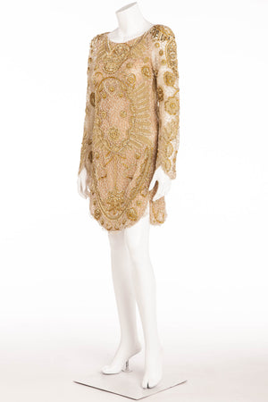 Emilio Pucci - Nude Long Sleeve Gold Beaded Skull Face Dress - IT 42