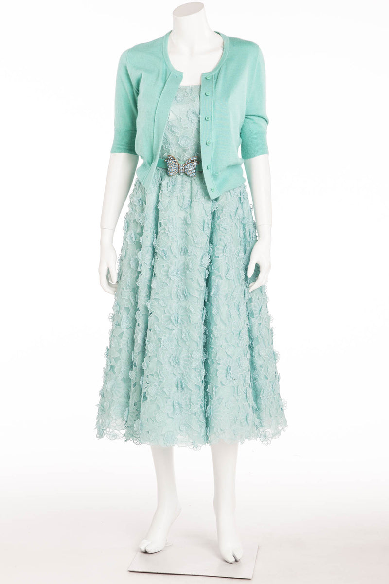 Oscar De La Renta - 3pc Light Turquoise Sleeveless Floral Embroidered  Dress, Belt, 3/4 Sleeve Cardigan - S