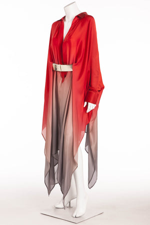 Original Alexander McQueen - 2PC New Red and Gray Ombre Long Sleeve Dress with Belt - IT 42