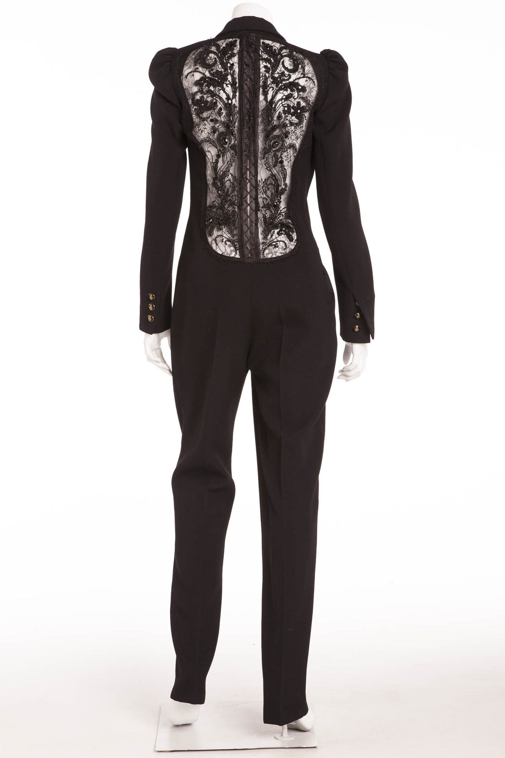 Emilio Pucci - Long Sleeve Black Jumpsuit Embellished Beaded Back - IT 42