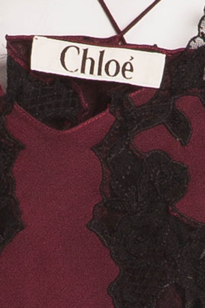 Chloe - Burgundy and Black Silk and Lace Tank Top - FR 38