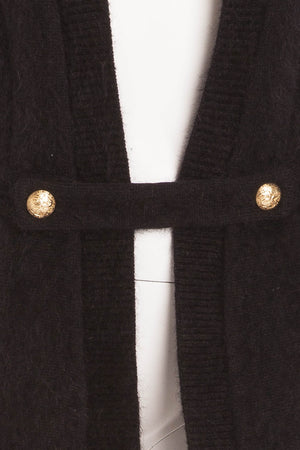 Balmain - New with Tags Black Angora Long Sleeve Sweater with Gold Buttons - FR 40