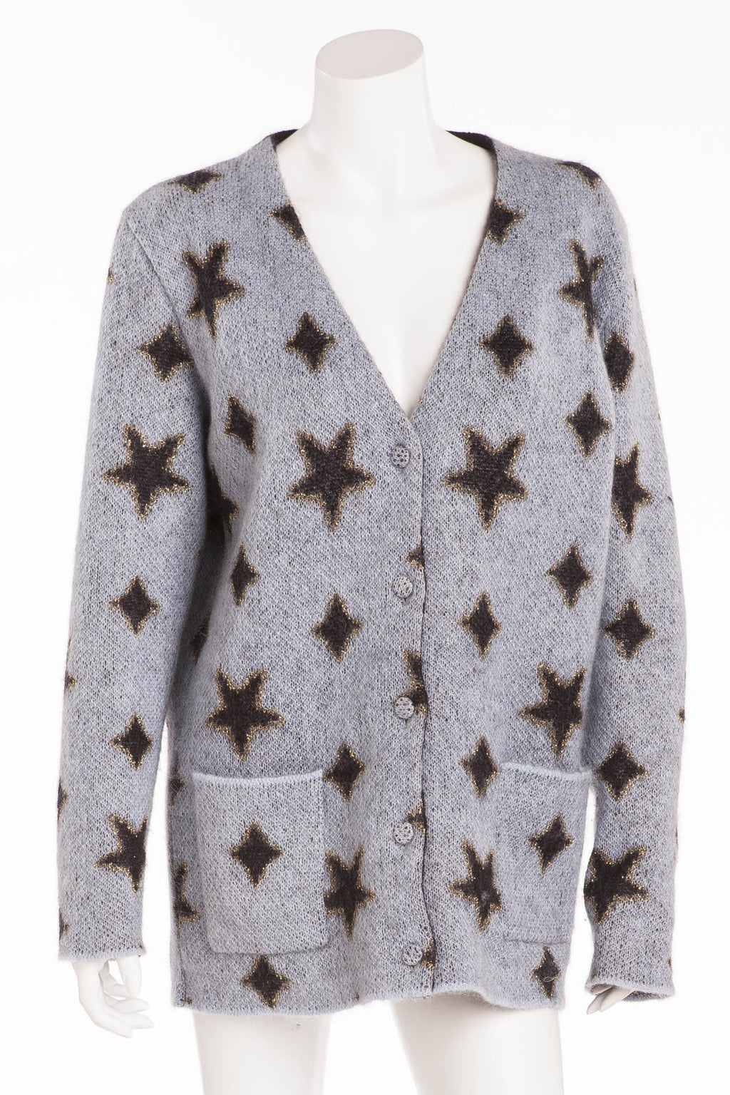Saint Laurent - Long Sleeve Light Blue Cardigan with Black Stars - M