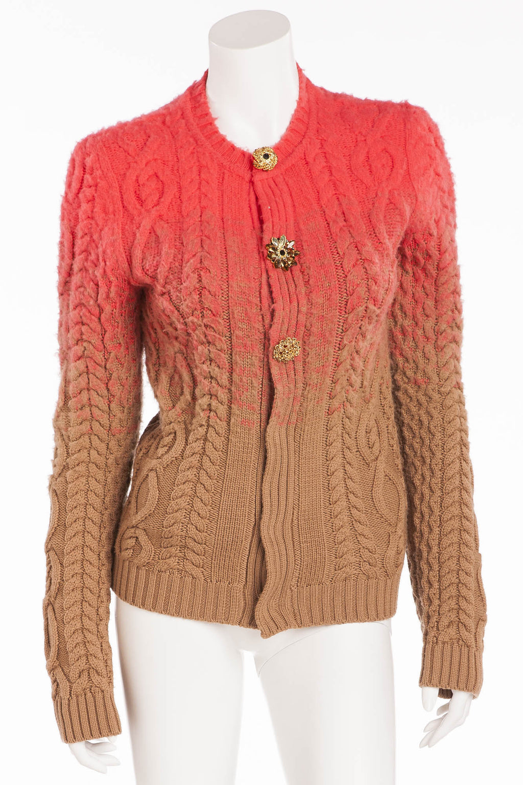 Dsquared2 - New Coral and Brown Ombre Cardigan with Crystal Buttons - L