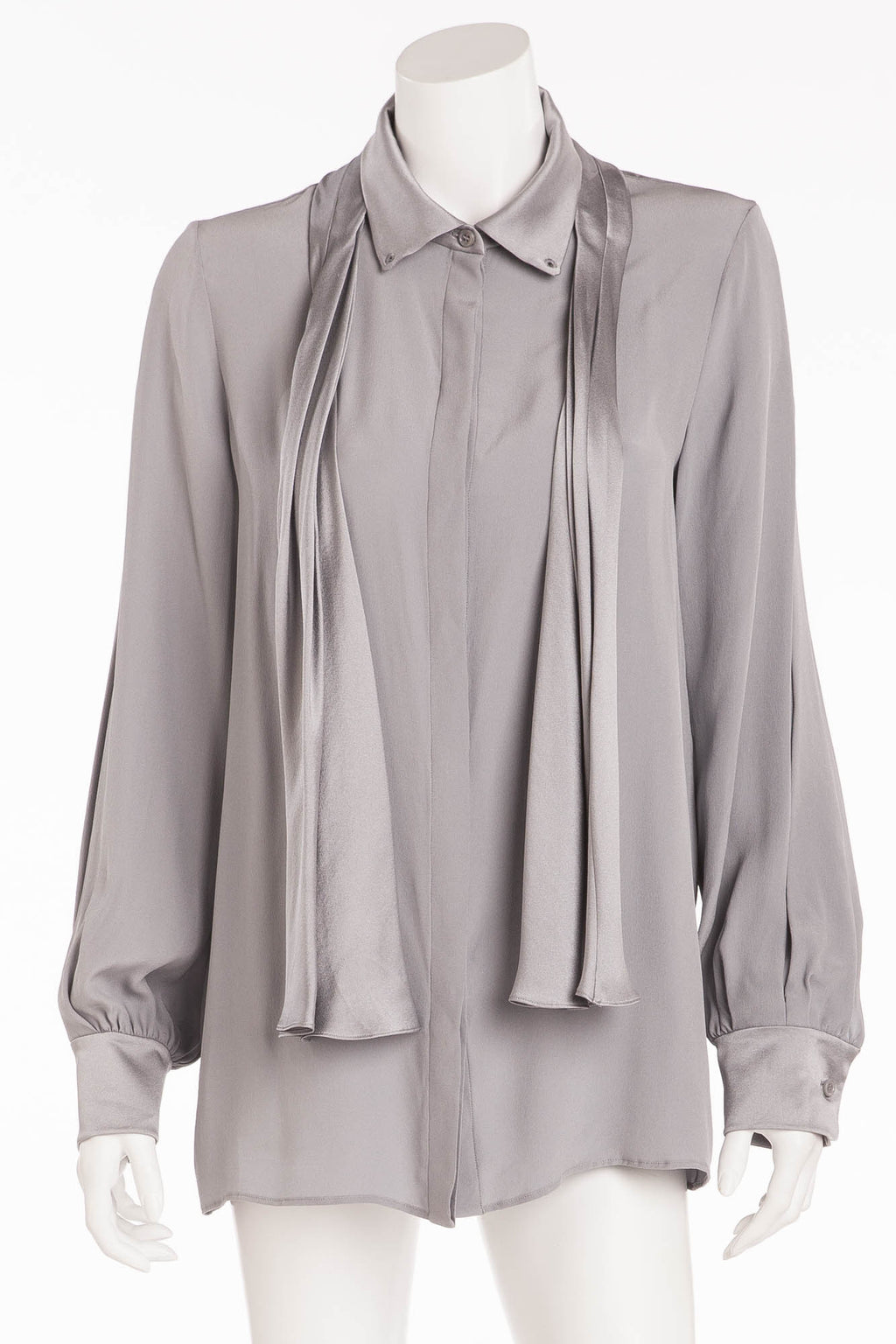 Chloe - Light Gray Blue Button Up Long Sleeve Shirt - FR 40